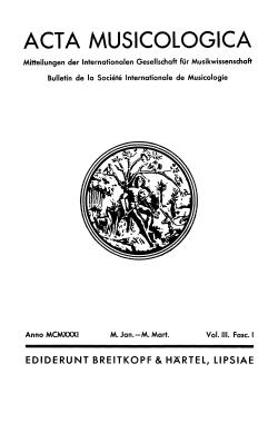 Acta Musicologica 1931 Titel