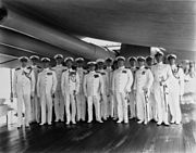 Admiral Frank B. Upham with his staff on board USS Augusta (CA-31) at Manila, circa January 1935 (NH 86636)