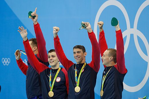 Phelps with Nathan Adrian, Ryan Held and Caeleb Dressel, after winning the 4 x 100 m freestyle relay Adrian, Held, Phelps, Dressel Rio 2016.jpg