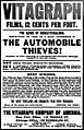 Advertisement for silent film The Automobile Thieves in newspaper, The New York Clipper.jpg