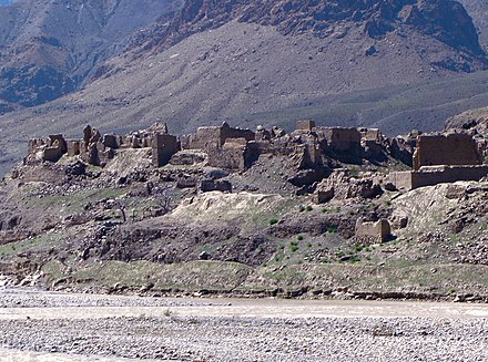 An Afghan village destroyed by the Soviets in the 1980s Afghan village destroyed by the Soviets.jpg