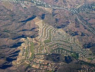 Calabasas, California - Aerial view of Calabasas, near the intersection of Las Virgenes and U.S. Highway 101