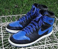 A pair of Nike Air Jordan I basketball shoes