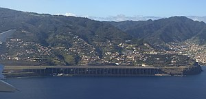 Cristiano Ronaldo International Airport - Approach to Madeira Airport, view of the suspended half of the runway