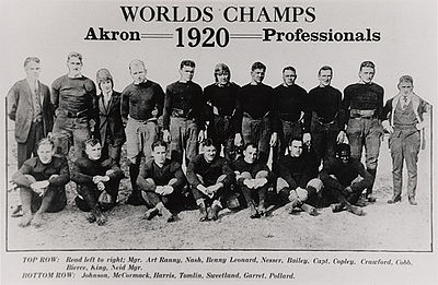 "A group of 18 men, 11 standing in back and seven sitting in front. Above the men, centered in the middle of the poster, is text that says ""Worlds Champs"". Under that is the phrase ""Akron Professionals"" – the year 1920 is placed between ""Akron"" and ""Professionals""."