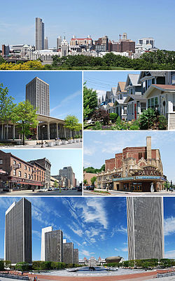 Med klokka frå toppen: Horisonten til Albany frå Rensselaer; mellomklassehus i Helderberg; Palace Theatre; Empire State Plaza frå Cultural Education Center; North Pearl Street ved Columbia Street; og State Quad ved SUNY Albany.