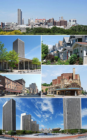 Albany, New York - Clockwise from top: Albany skyline from Rensselaer; middle-class housing in the Helderberg neighborhood; Palace Theatre; Empire State Plaza from the Cultural Education Center; North Pearl Street at Columbia Street; and the State Quad at SUNY Albany.