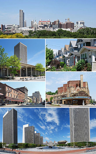 Albany, New York - Clockwise from top: Downtown from Rensselaer; middle-class housing in the Helderberg neighborhood; Palace Theatre; Empire State Plaza from the Cultural Education Center; North Pearl Street at Columbia Street; and the State Quad at SUNY Albany.