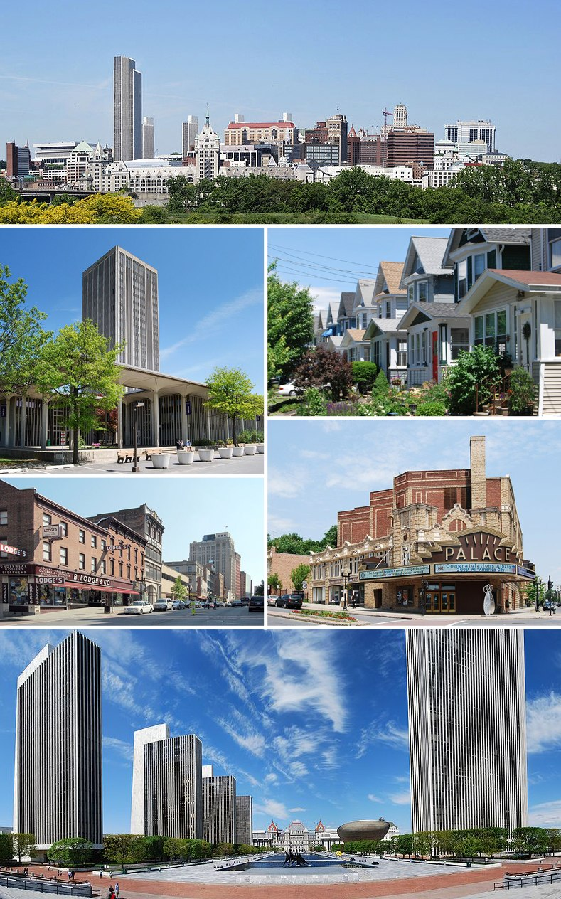 Clockwise from top: Downtown from Rensselaer; middle-class housing in the Helderberg neighborhood; Palace Theatre; Empire State Plaza from the Cultural Education Center; North Pearl Street at Columbia Street; and the State Quad at SUNY Albany.