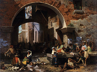 Albert Bierstadt - Image: Albert Bierstadt Roman Fish Market. Arch of Octavius Google Art Project