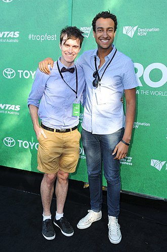 Triple J - Alex Dyson (left) and Matt Okine (right) at Tropfest 2013