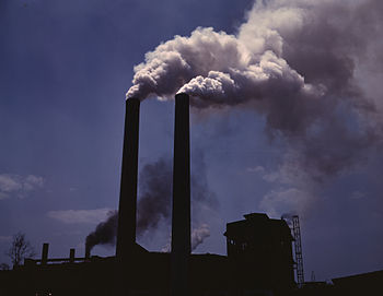 English: Smokestacks from a wartime production...