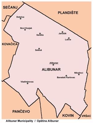 Alibunar - Map of Alibunar municipality