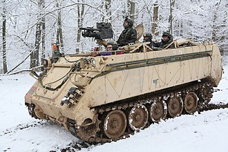 M113 armored personnel carrier - A U.S. Army M113 of 1st Battalion, 4th Infantry Regiment provides overwatch while conducting recon operations during exercise Allied Spirit at the Joint Multinational Readiness Center in Hohenfels, Germany in 2015.