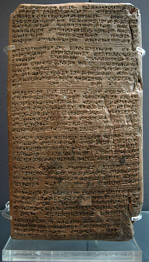 "Comparison (grammar) - Amarna letter EA 19, Para 2, (last line): ""...the Gods and (our Kingly relations), forever""...""may it be, (one verb, (5 signs, e-le-né-ep-pi)), I-n-t-e-r-R-e-l-a-t-e-d-!.""  (The first sign ""e"" is rubbed off; only a space-(depression) locates it.)-(high resolution expandible photo)"