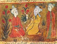 Amir Khusrow teaching his disciples in a miniature from a manuscript of Majlis al-Ushshaq by Husayn Bayqarah.
