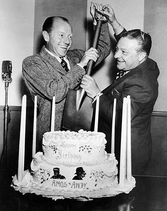 Amos 'n' Andy - Gosden and Correll celebrate the tenth anniversary of the show on NBC in March 1938.