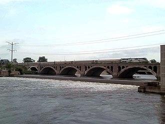 Illini and Saluki - The Illini crosses the Kankakee River in Kankakee, Illinois in 2011