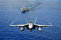 An F-A-18E Super Hornet participates in an air power demonstration near the aircraft carrier USS John C. Stennis (CVN 74) as the ship operates in the Pacific Ocean on April 24, 2013 130424-N-TC437-190.jpg