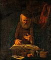 An alchemist examining a liquid. Oil painting attributed to Wellcome V0017684.jpg