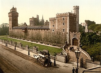Listed buildings in Cardiff - Cardiff Castle and Animal Wall c. 1890s