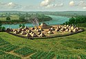 Artist's conception of the Annis Mound and Village Site