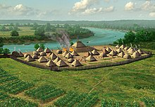 Artist's conception of a mound and village