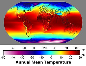 Annual average temperatures around the globe