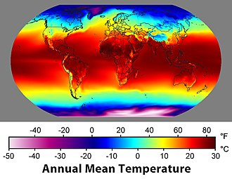 "Climatology - Map of the average temperature over 30 years. Data sets formed from the long-term average of historical weather parameters are sometimes called a ""climatology""."