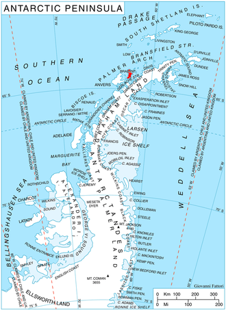 Brabant Island - Location of Brabant Island (in red)