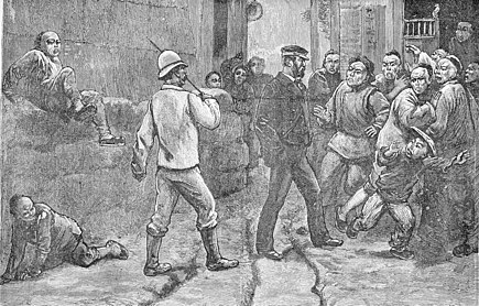 European residents walk warily in the streets of Guangzhou, autumn 1883. Anti-foreign feeling in Guangzhou, 1883.jpg