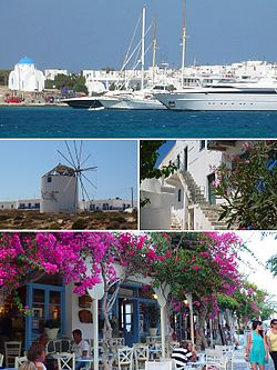 From top left: The port of Antiparos, windmills, traditional houses in the castle and shopping street