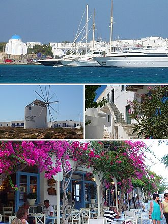 Antiparos - From top left: The port of Antiparos, windmills, traditional houses in the castle and shopping street