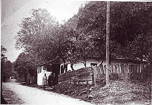 Anton Hám - Anton Hám before his birthplace in the Valley Soler of Kremnica