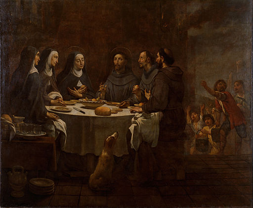 Antoni Viladomat - Saint Francis and Saint Clare at Supper in the Convent of Saint Damian - Google Art Project