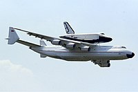 Antonov An-225 with Buran at Le Bourget 1989 Manteufel.jpg