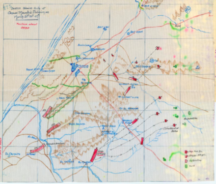 Position of the Anzac Mounted Division at about 09:30 (not labelled) with the Imperial Mounted Division, two columns of the 53rd (Welsh) Division and one column of the 54th (East Anglian) Division. Ottoman defences shown in green AnzacMDwd AWM4-60-13.A54.36.tiff