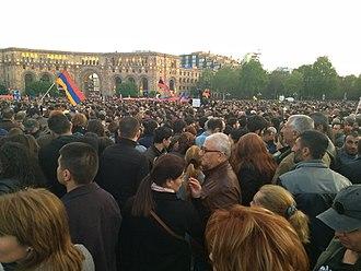 2018 Armenian revolution - Protesters on 22 April 2018