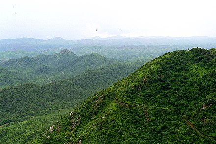 Lush green Aravalli Mountain Range in the Desert country - Rajasthan, India. A wonder how such greenery can exist in hot Rajasthan, a place well known for its Thar Desert Aravalli.jpg