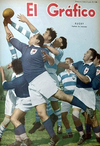 History of the France national rugby union team - France playing Argentina at Buenos Aires, in 1954.