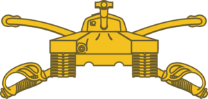 Armor Branch (United States) - Armor branch insignia, featuring crossed sabers with an M26 Pershing tank superimposed on top