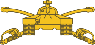 Armor Branch - Armor branch insignia, featuring crossed sabers with an M26 Pershing tank superimposed on top
