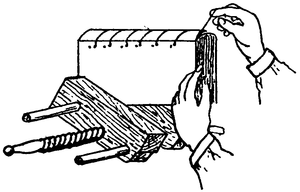 Line drawing of a pair of hands sewing a cord through a book in a vice.
