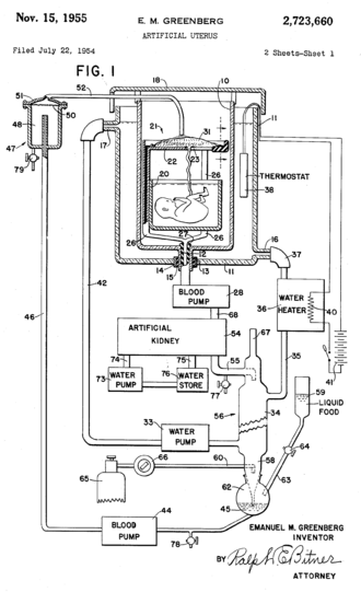 Artificial uterus - Illustration of an artificial womb patented by Emanuel M Greenberg in 1955.