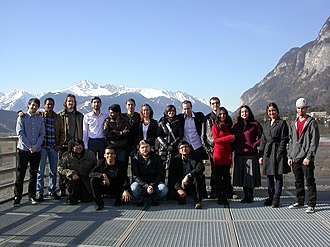 Astromundus - Students and tutors on the roof of Victor Franz Hess Haus, farewell from Innsbruck, 2011