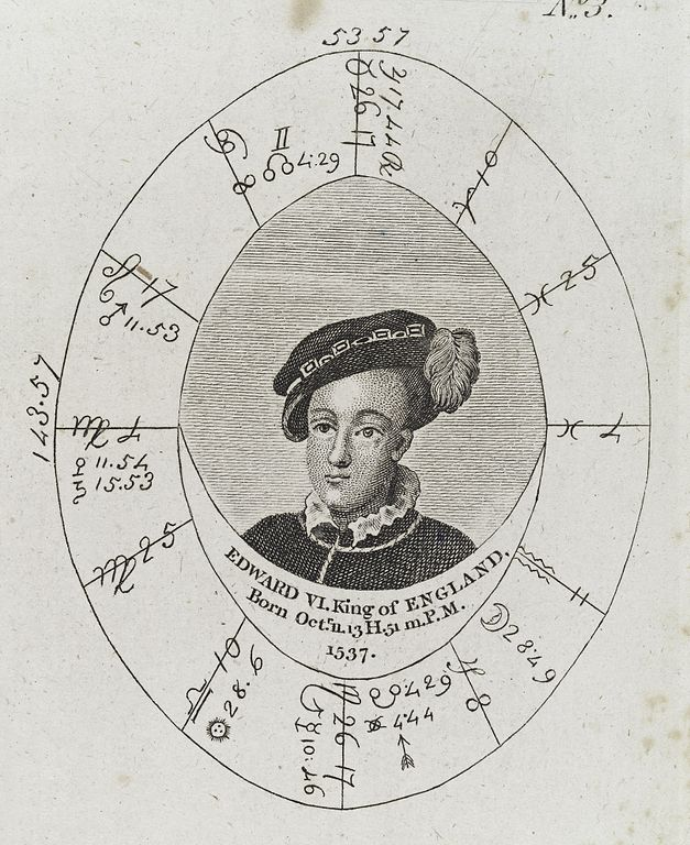 Astrology Natal Chart: Astrological birth chart for Edward VI Wellcome L0040350.jpg ,Chart