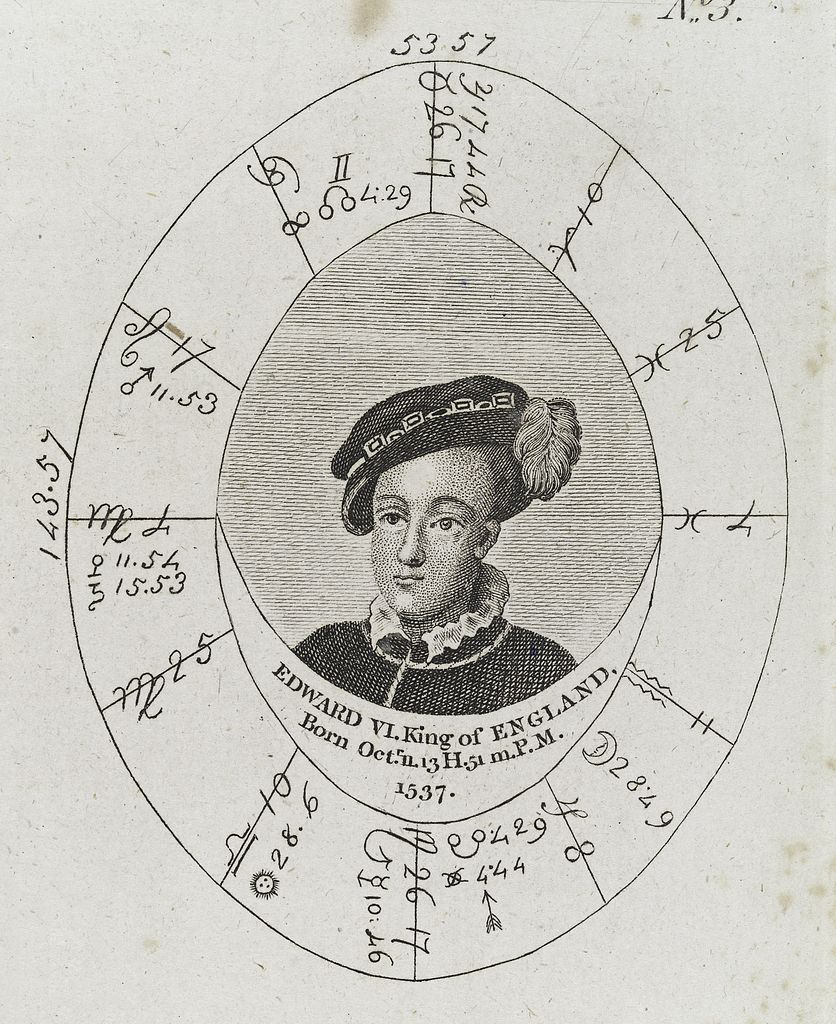 Chart Birthday Astrology: Astrological birth chart for Edward VI Wellcome L0040350.jpg ,Chart