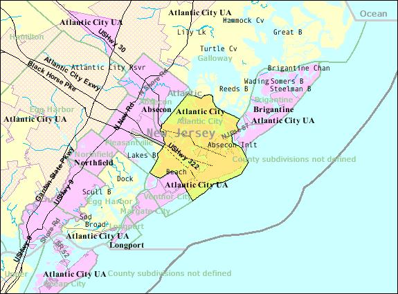 United States Census Bureau map of Atlantic City