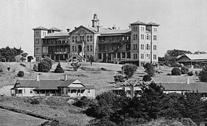 Grafton Volcano - This 1877 hospital building, replaced in the 1960s, was built over a Grafton Volcano scoria cone.