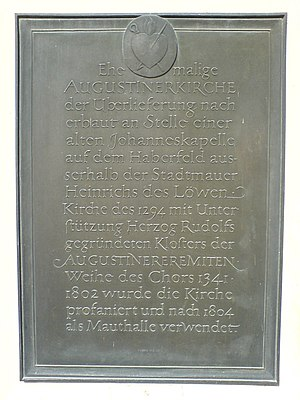 German Hunting and Fishing Museum - Commemorative plaque regarding the former Augustinerkirche.